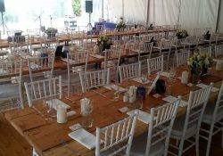 Timber Tables with White Tiffany - Marquee